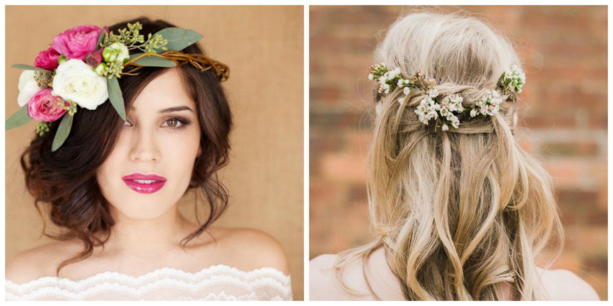 penteados para madrinhas 2019, grinaldas de flores